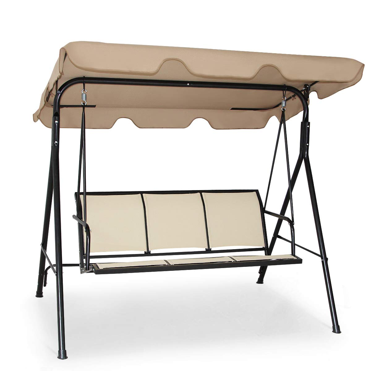 Tangkula 3 Person Patio Swing, Steel Frame with Polyester Angle Adjustable Canopy, All Weather Resistant Swing Bench, Suitable for Patio, Garden, Poolside, Balcony (Brown) by Tangkula