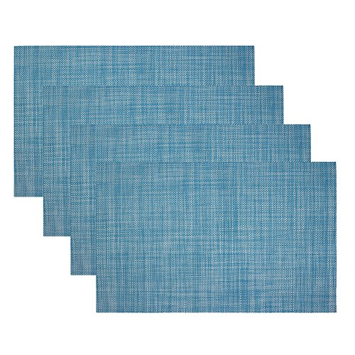 Kisstaker Kitchen Dining Table Placemats Heat Insulation Stain-resistant Table Mats Set of 4 Blue - Placemats For Dining Table Blue