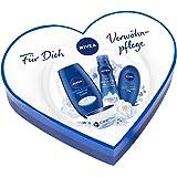 NIVEA Geschenkset für Frauen mit Duschgel, Body Mousse, Handcreme und Creme in Herzdose