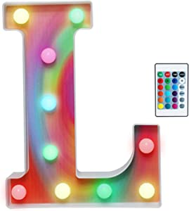 Rainbow Multiple Light up Letters with Remote, 16 Colors Alphabet Letter Lights LED Bar Signs for Wall, Table, Bedroom, Home Decor-Rainbow Letter L