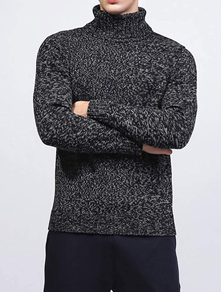 ROBO Mens Basic Thermal Knitted Pullover Slim Fit Turtleneck Sweater