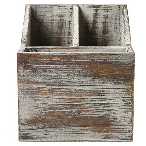 Rustic Torched Wood Tabletop Flatware, Utensil Caddy, Cutlery Organizer and Napkin Holder, 3 Compartment by MyGift (Image #3)