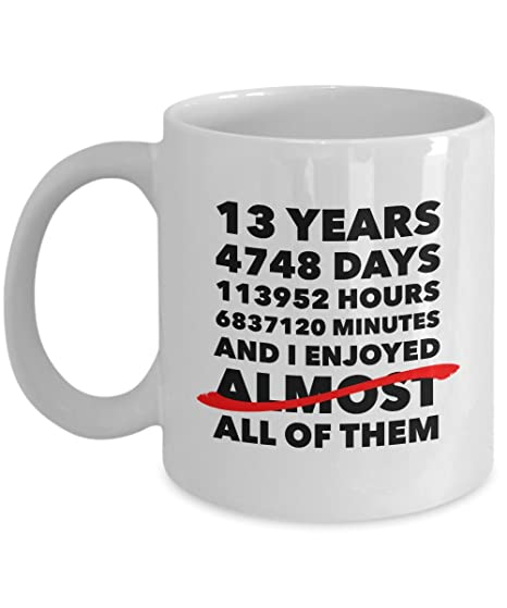 Funny 13th Anniversary Mug Lace Wedding Day 13 Years Birthday Gift Idea For Him