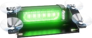 Abrams Focus 1X Series (Green) 18W - 6 LED Security Patrol Vehicle Truck Windshield Strobe Warning Dash & Deck Light Bar