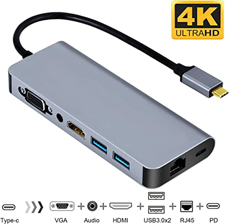 Type-C To 4K HDMI USB3.0 Type-C With RJ45 Network Lan Adapter