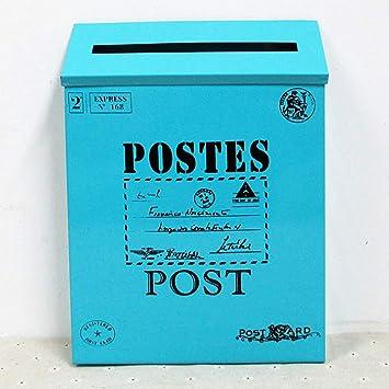 1 Pieza Caja de Soporte de Periódico de Buzón de Correo Galvanizado Vintage - Azul: Amazon.es: Bricolaje y herramientas