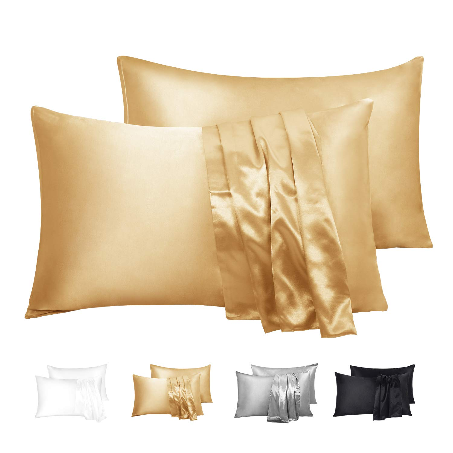 "Duerer Satin Pillowcase 2 Pack for Hair and Skin, Soft Pillow Cases Covers with Envelope Closure, Standard/Queen/King Size(20""x26"",Gold)"