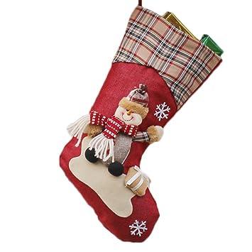 Dosige 1pcs Medias de Navidad Calcetines de Navidad Chimenea para el regalo del bolso de azúcar, decoración del árbol de navidad, fiesta de Navidad (Muñeco ...