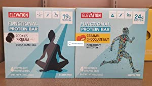 Elevation Functional Protein Bar Cookies Cream and Caramel Chocolate Nut (Two Boxes)