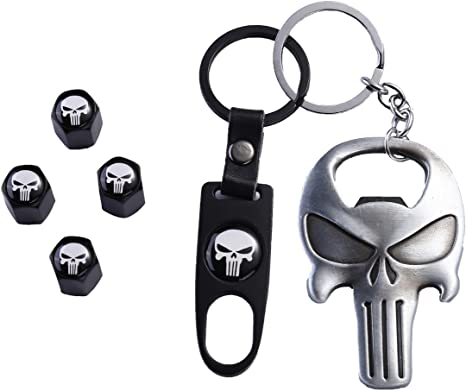 TK-KLZ Skull Car Truck Motorcycle Bike Tire Valve Stem Caps + Key Chain Set with Opener Function for Jeep Toyota Honda BMW Ford Chevrolet Nissan ...