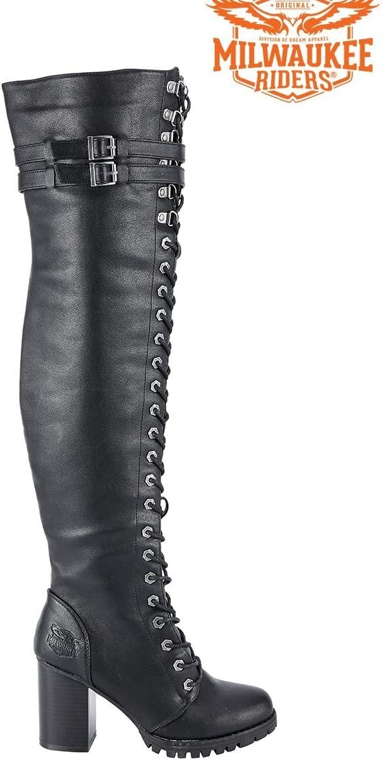 Motorcycle Ladies High Knee Fully Laced Long Harley Side Zipper Biker Boot Blk PVC 6