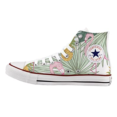 fed94f0251e6 Converse All Star High Customized and Printed - handmade shoes - Italian  Brand - Flamingo  Amazon.co.uk  Shoes   Bags