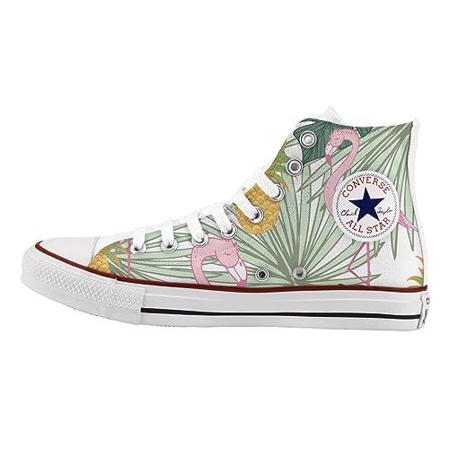 Converse Personalizados e impresos - zapatos de artesanía - Flamingo: Amazon.es: Zapatos y complementos