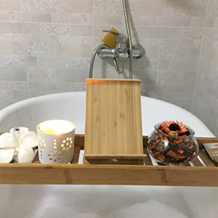 Amazon.com: Dfiue Simple Bathtub Tray,Bamboo Bathtub Caddy Tray Bath ...