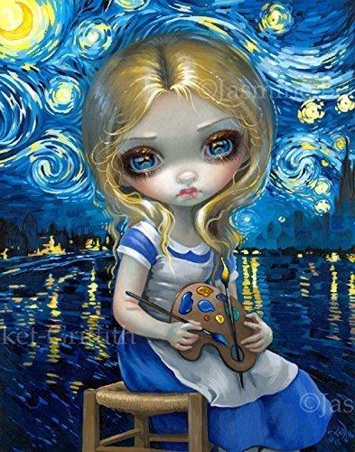"""Alice in a Van Gogh Nocturne"" Open Edition Remarqued Canvas Art Print with SIGNED COA by Jasmine (Wall Pops New Shapes)"