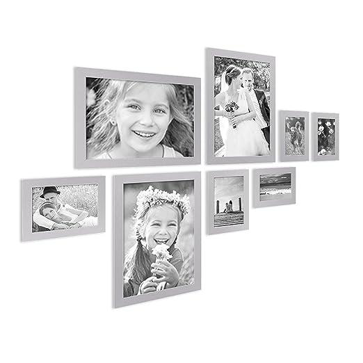 20 opinioni per Set da 8 cornici fotografiche Photolini Basic Collection Modern argento in MDF,