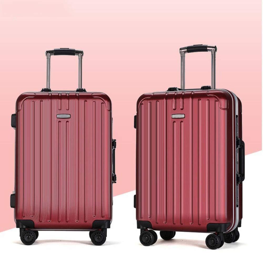 トロリーケースユニバーサルホイールビジネススーツケース24インチアルミフレーム学生荷物20インチ搭乗ケース (Color : 赤, Size : 20 inch)   B07R4QGMK5