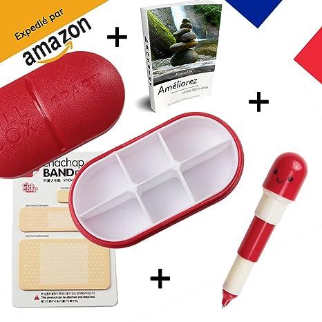 [hansainc®] pastillero diario de viaje + bolígrafo pilule retráctil + Post-it