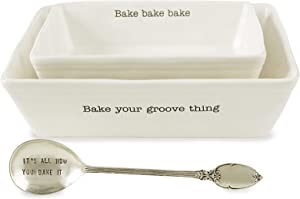 Mud Pie Farmhouse Inspired Set of 2 Serving Spoon Baking Dish Set, One Size, White