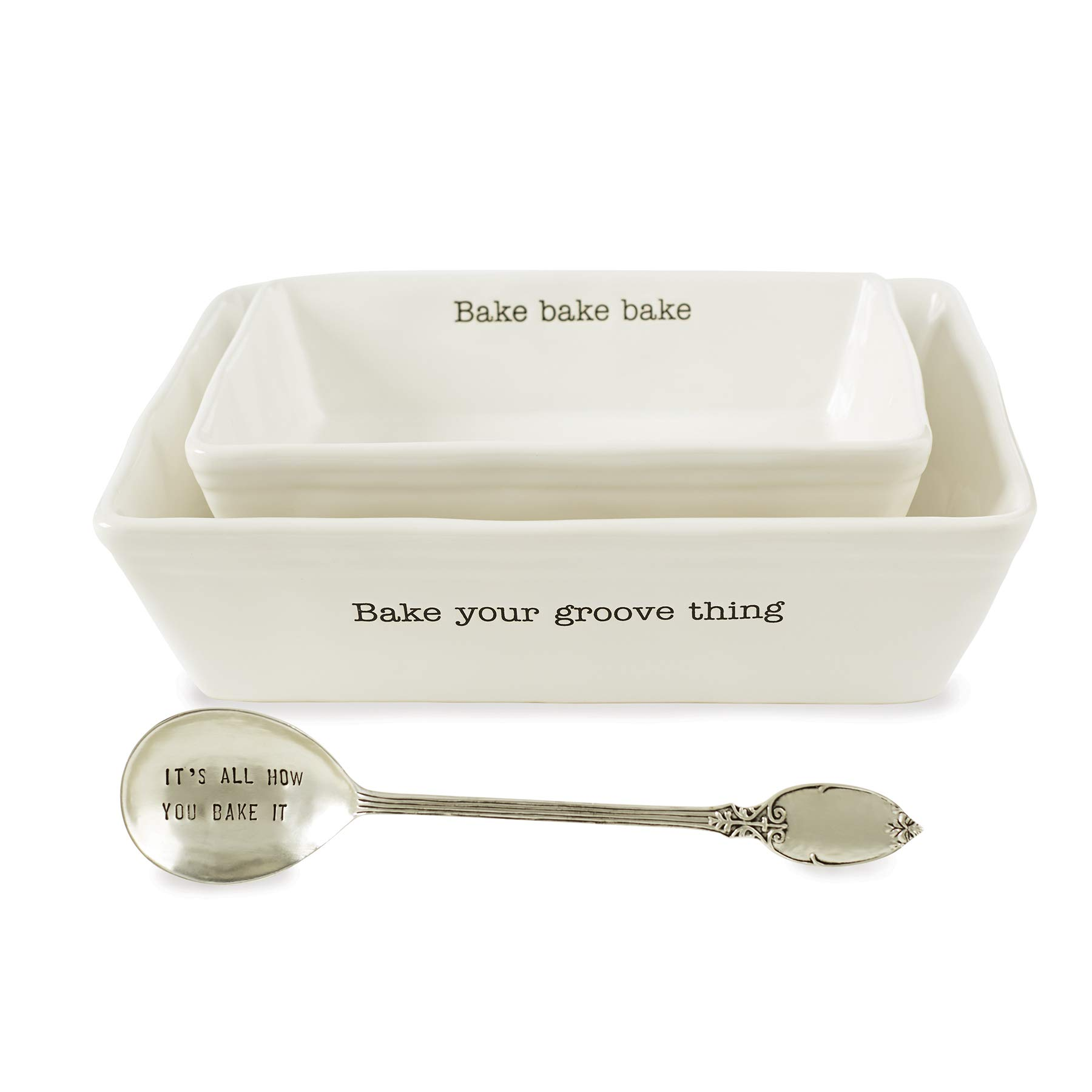 Mud Pie 48010008 Farmhouse Inspired Set of 2 Serving Spoon Baking Dish Set, One Size, White by Mud Pie (Image #1)