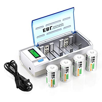 EBL D Cells 10000mAh Rechargeable Batteries