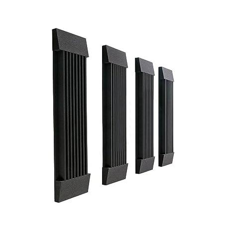 Juego de 4 láminas de pared de espuma de cuña Studio Panel de insonorización acústica Negro