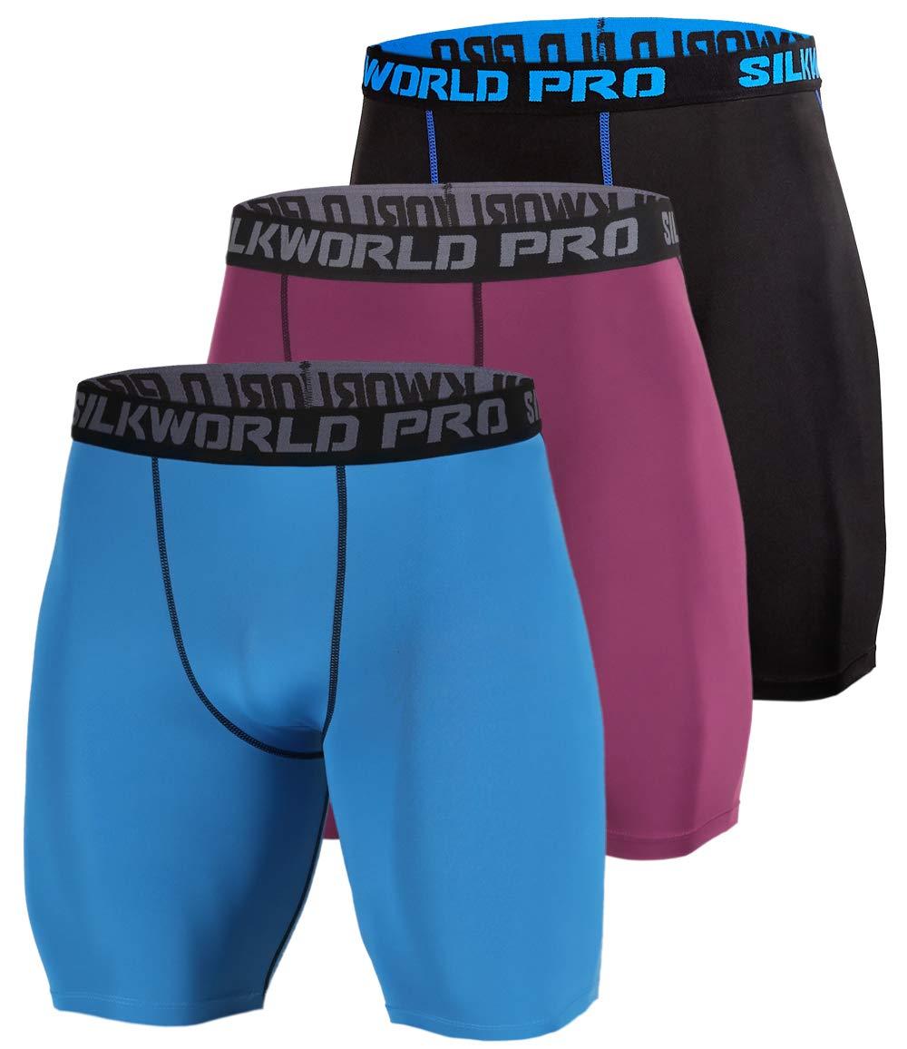 SILKWORLD Men's 3 Pack Running Tight Compression Shorts, Black(Blue Stripe), Dark Red, Peacock Blue, XXL by SILKWORLD