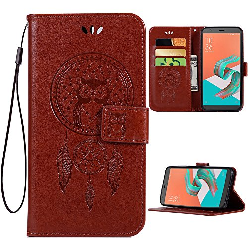 Price comparison product image ARSUE ASUS ZenFone 2 Laser Case, PU Leather Wallet Folio Flip Magnetic Protective Case Cover with Card Slots and Kickstand Owl Dreamcatcher for ASUS Zenfone 2 Laser (ZE550KL / ZE551KL) 5.5 Inch, Brown