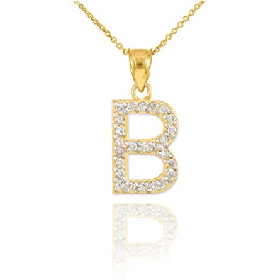 Initial pendants womens fine 14k yellow gold diamond letter b initial pendants womens fine 14k yellow gold diamond letter b pendant necklace aloadofball Images
