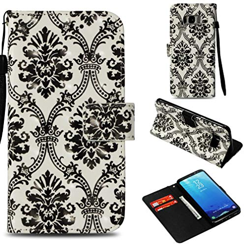 - Firefish Galaxy S8 Plus Case,Premium Pu Leather 3D Printing Wallet Case Slim Durable Inner Soft Bumper Shock Proof Anti Sliding Magnetic Card Holder Kickstand Case Samsung Galaxy S8 Plus -Black Lace