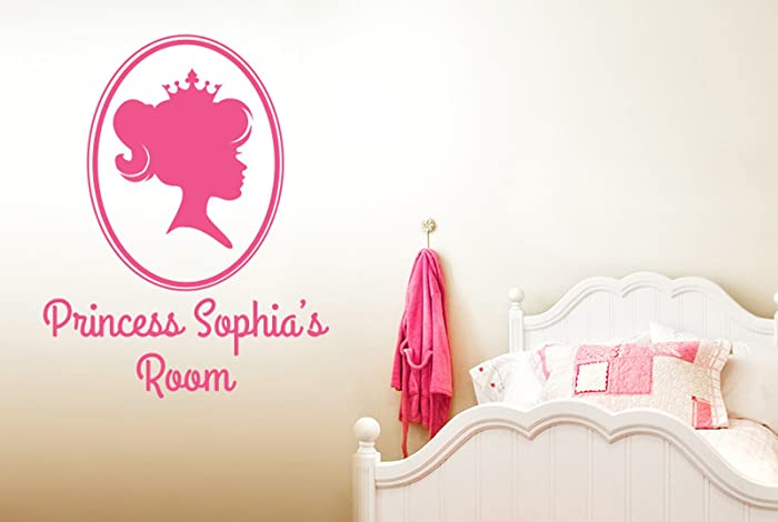 Personalised princess portrait little girls room sign wall stickers art decals