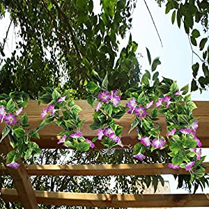 GTIDEA Artificial Vines, 2pcs 15Feet Morning Glory Hanging Plants Silk Garland Fake Green Plant Home Garden Wall Fence Stairway Outdoor Wedding Hanging Baskets Decor Purple 3