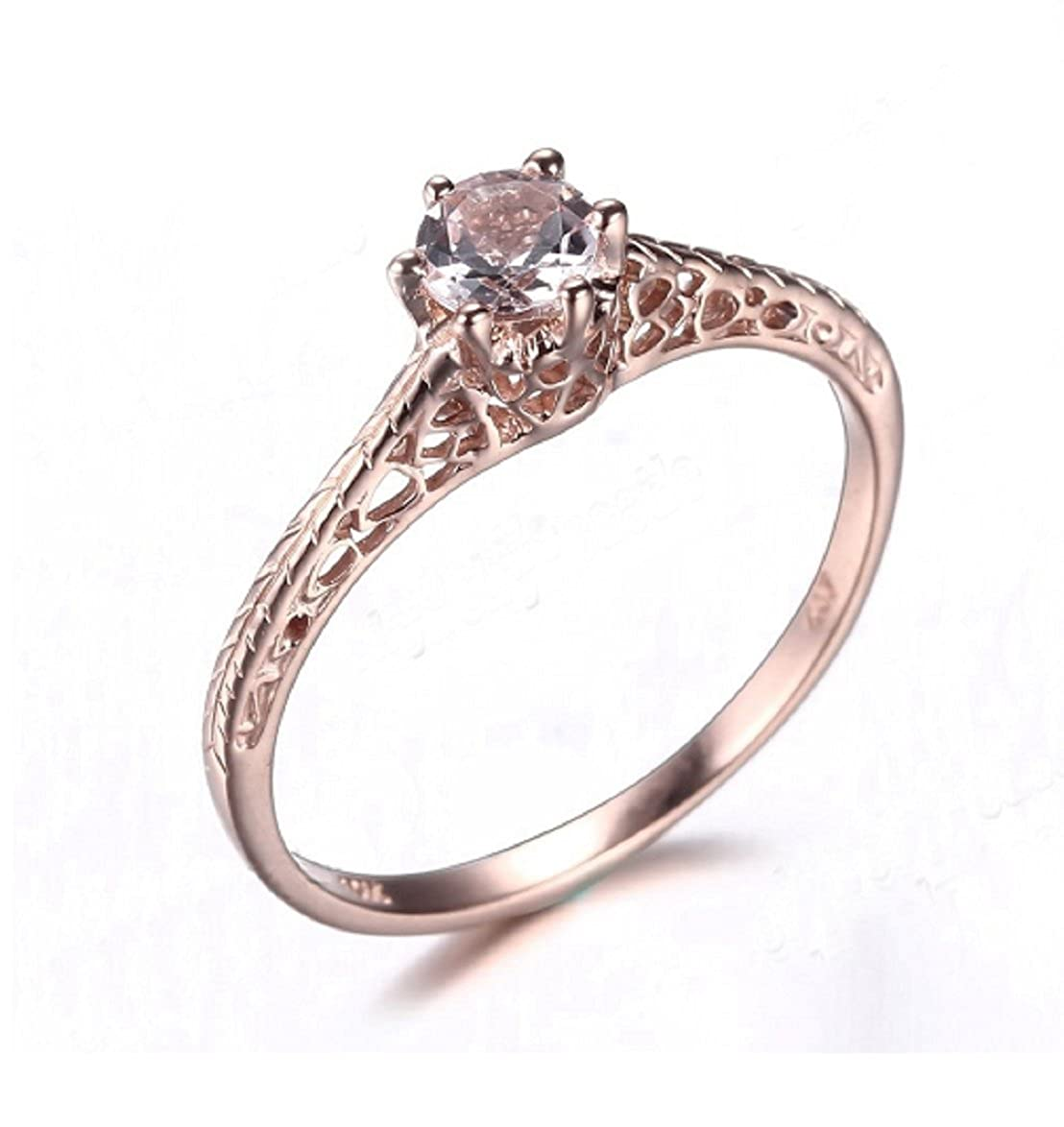 Amazon Gowe Ladies Art Deco Jewelry Ring Solid 10k Rose Gold Round Cut 6mm Morganite Antique Vintage Engagement Wedding: Art Deco Jewelry Wedding Rings At Websimilar.org