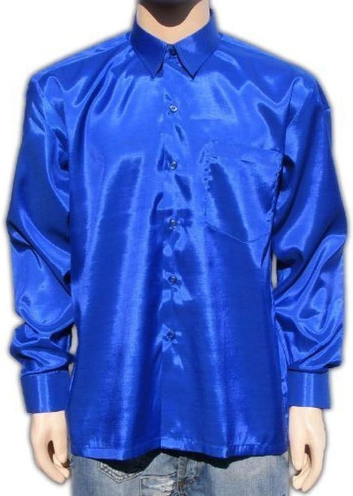Bestellmich Chemise Chemise Bleu Chemise pour Homme en Satin Brillant Business Hemden Dimensions