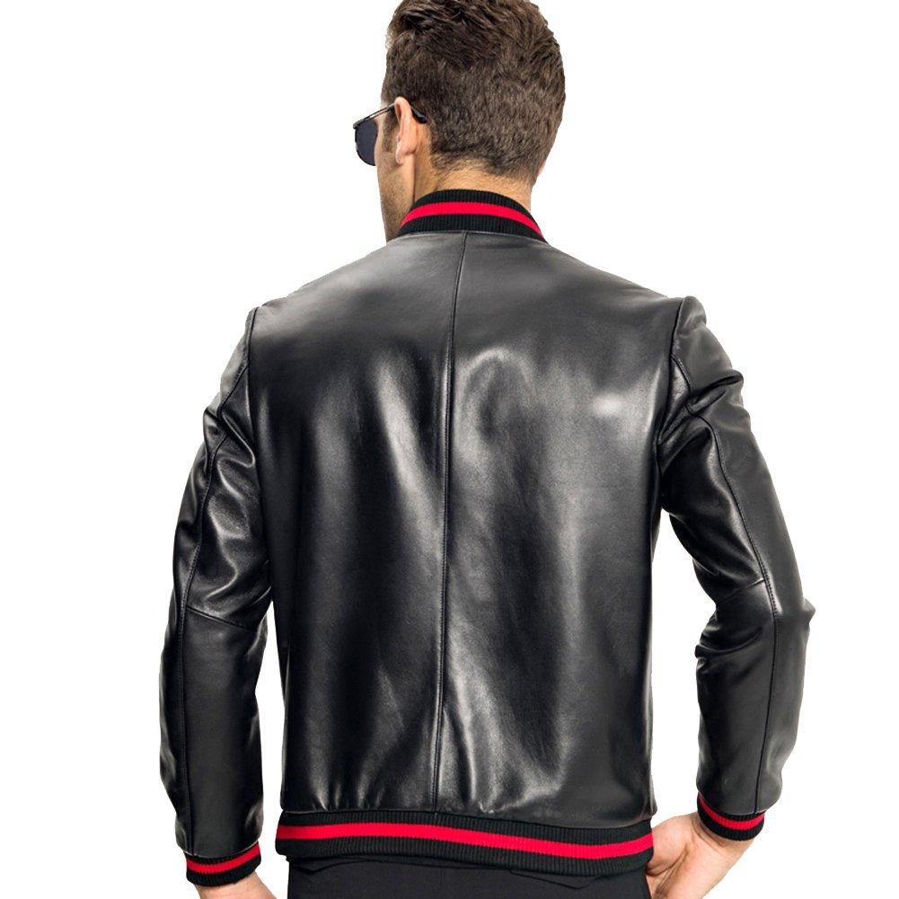 f55ecb012fa0 LINAILIN Men s Baseball Leather Jacket Men Genuine Leather Coat at Amazon Men s  Clothing store