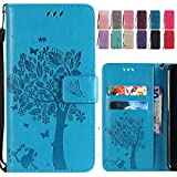 for LG G7 ThinQ/G710EM Case, Ougger Premium PU Leather Flip Stand Wallet Cover Magnetic-Buckle Protective Soft TPU Bumper Case for LG G7 ThinQ/G710EM with Card Slot, Cat & Tree (Blue)