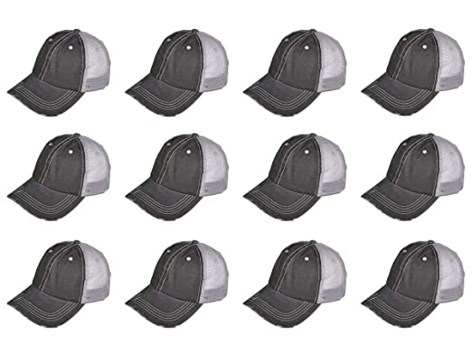 a5c309b9 Image Unavailable. Image not available for. Color: BK Caps Dozen Pack  Wholesale Low Profile Unstructured Washed Cotton Trucker Hat