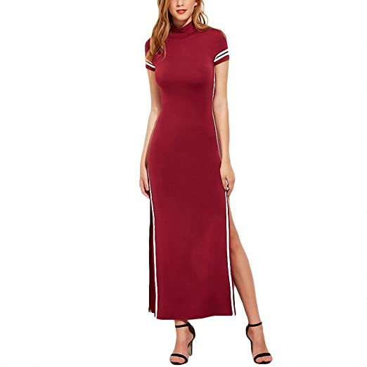 7b63edb7ed High Split Maxi Dress Women Burgundy Striped Trim Sexy Open Back New High  Neck Bodycon Dress