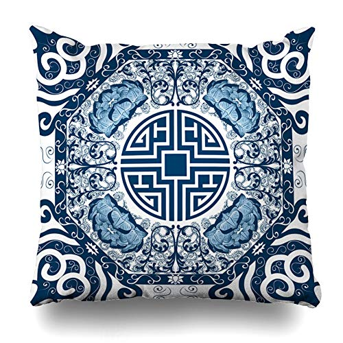 (Ahawoso Throw Pillow Cover Blue Pattern Peony Nature Abstract Pottery Lotus Porcelain Design Floral Zippered Pillowcase Square Size 20 x 20 Inches Home Decor Cushion Case)