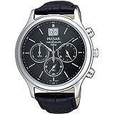 Pulsar Uhren - PU5005X1 - Montre Homme - Quartz Chronographe - Chronomètre - Bracelet Cuir Noir