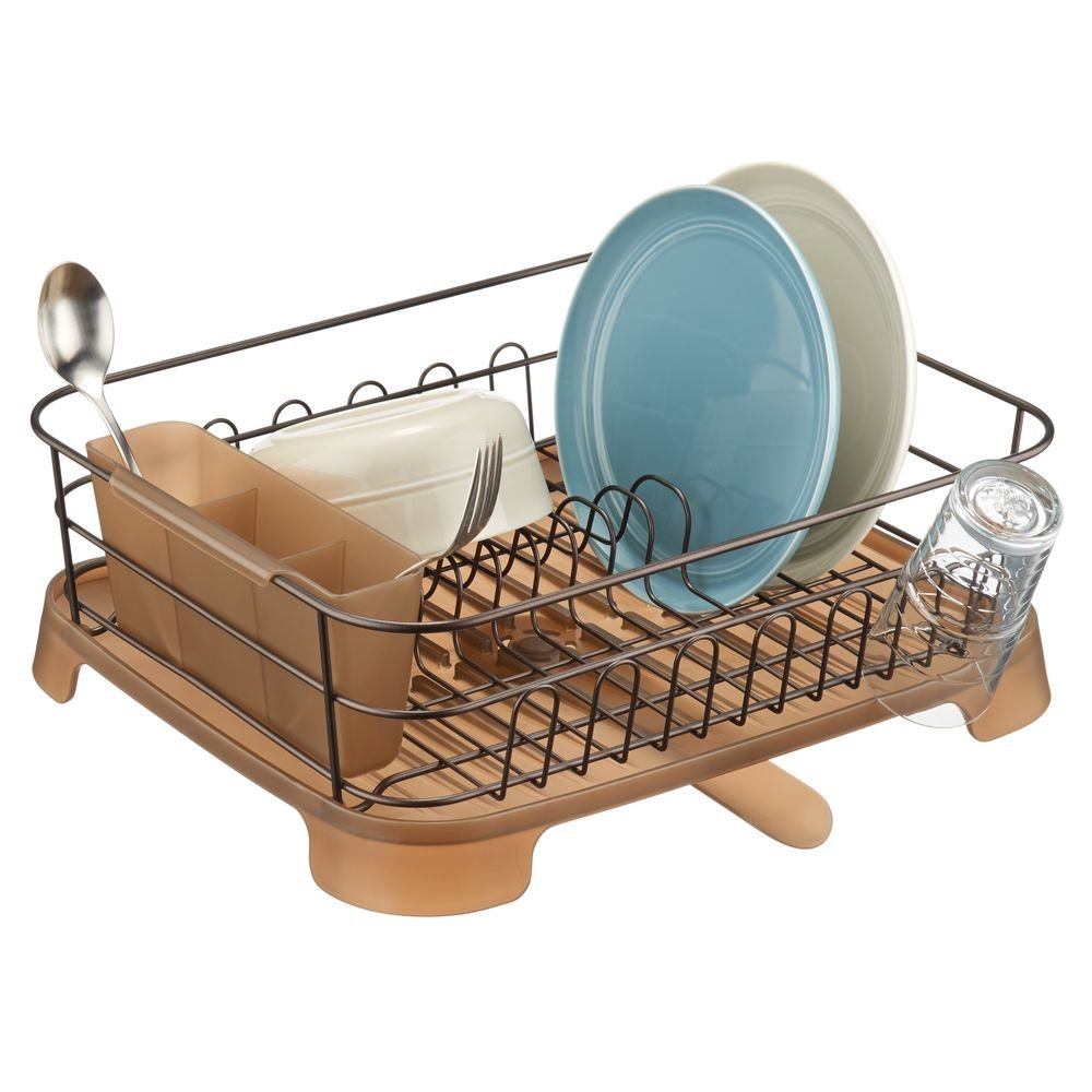 mDesign Large Kitchen Countertop, Sink Dish Drying Rack with Removable Cutlery Tray and Drainboard with Adjustable Swivel Spout - 3 Pieces, Bronze Wire/Amber Plastic Cutlery Caddy and Drainboard
