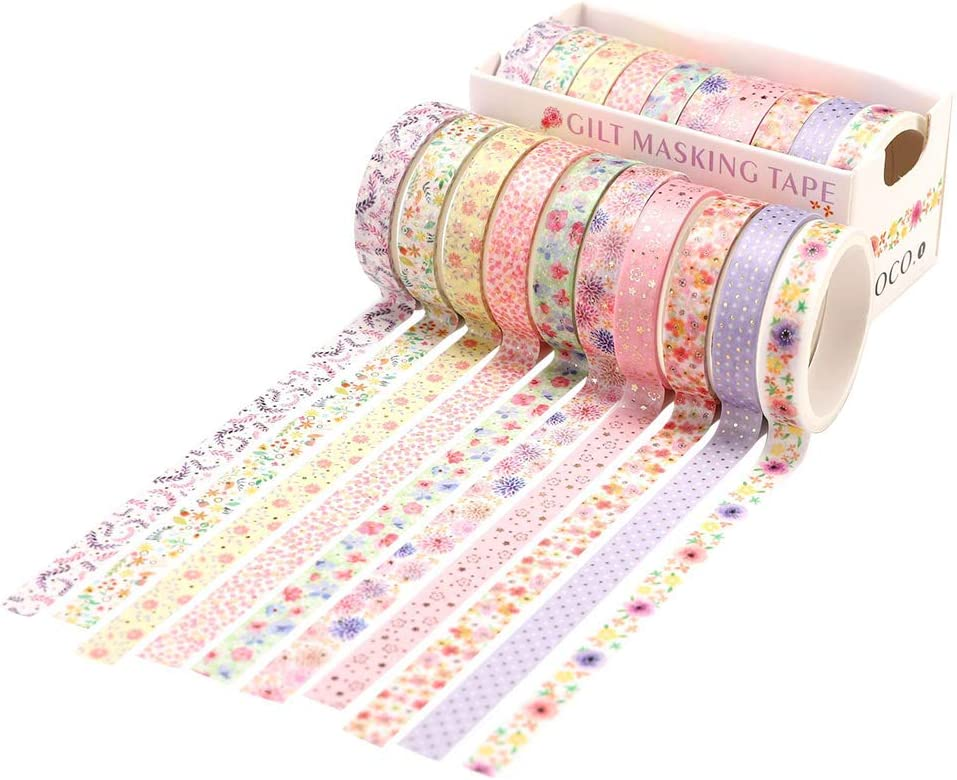 10 Rolls Washi Tape Set Decorative Washi Tapes Glitter Paper Craft Tape Adhesive Scrapbook Tape Sticker for Journals Daily Planners DIY Gift Wrapping Photo Album Use Office Party Supplies (Multicolor)