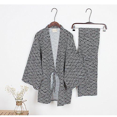 abbigliamento Robe Black01 al Yukata di da Robes uomo Kimono vapore Khan Pigiama nww8xqU47I