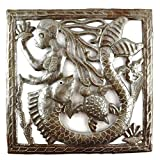 Cheap Mermaid Metal Wall Art, Handmade in Haiti from Steel Drum Oil Barrels 11″ x 11″