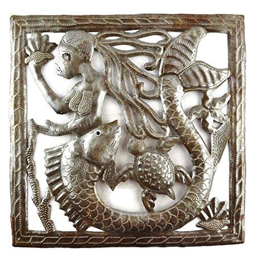 Mermaid Metal Wall Art, Handmade in Haiti from Steel Drum Oil Barrels 11