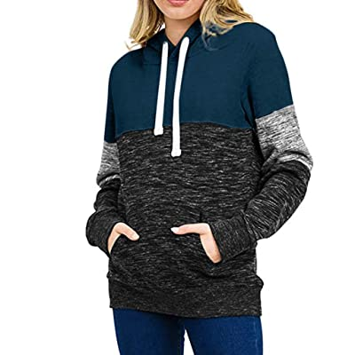 WUAI-Women Active Color Block Long Sleeve Fleece Pullover Hoodie Sweatshirts with Kangaroo Pocket: Clothing