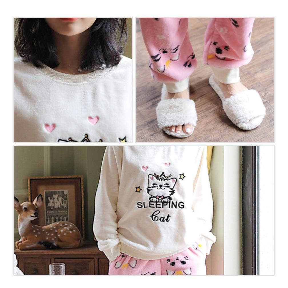 BAIYIXIN Big Girls Pajamas Flannel Warm Cute Winter Sleepwear Set Thicken