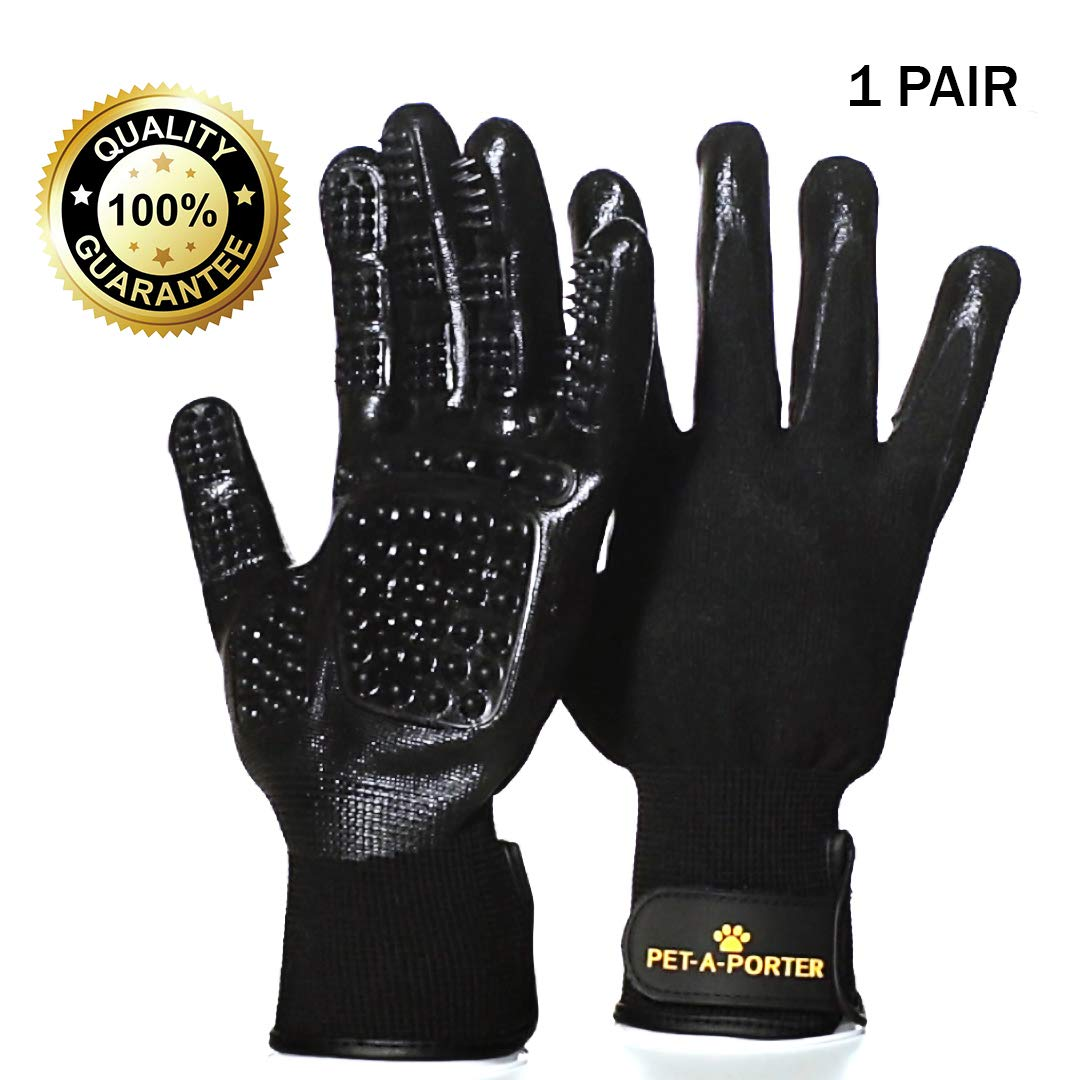 Pet-a-Porter #NEW VERSION# PET GROOMING GLOVES - De-Shedding Brush - Two Hands On your Cat, Dog, Horse - Long & Short Fur - Soft Massage - Bathing