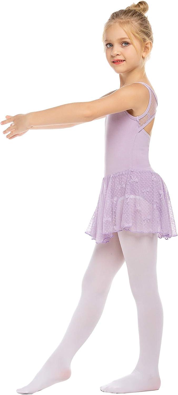 Zaclotre Girls Ribbon Mesh Bow Back Tank Ballet Dress Tutu Skirted Leotard