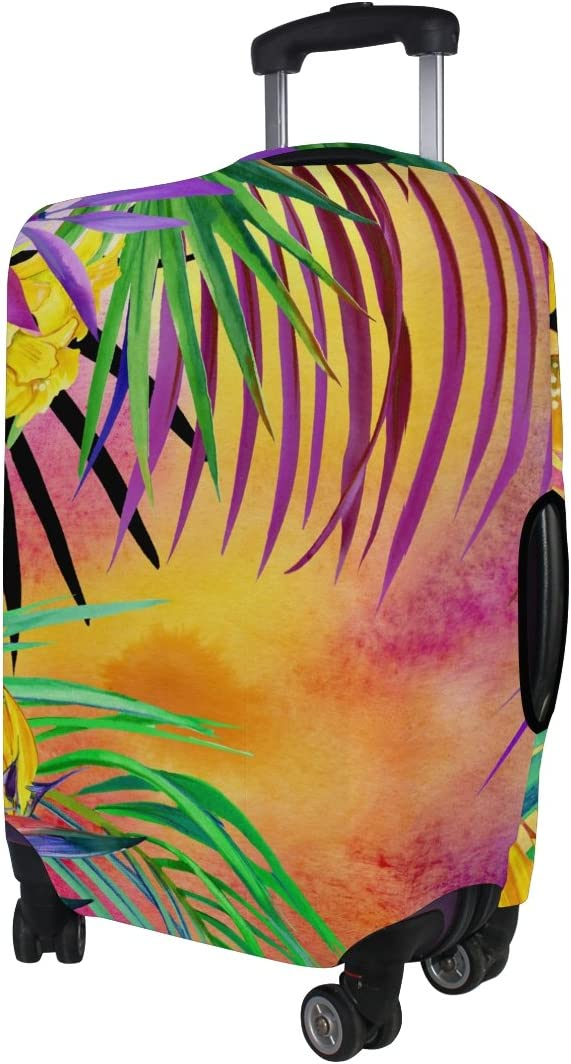 LAVOVO Watercolor Tropical Leaves Nature Luggage Cover Suitcase Protector Carry On Covers